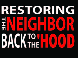 RESTORING NEIGHBORS blk backgrd